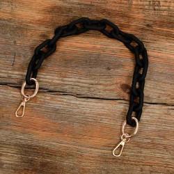 Acrylic Chain Handbag Handle and Charm in Matte Black