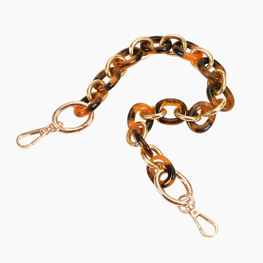 Acrylic Chain Handbag Handle and Charm in Bronze and Light Gold