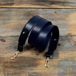 Replacement Large Strap in Black Leather and Fixed Length for Handbags, Tote Bags and Purses