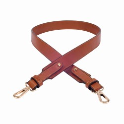 Replacement Large Strap in Cognac Color Leather and Fixed Length for Handbags, Tote Bags and Purses