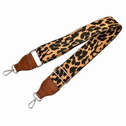 Replacement Guitar Style Strap In Leopard Pattern and Brown Leather Accent For Bags And Purses