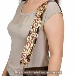 Replacement Guitar Style Strap In Spotted Beige For Bags And Purses
