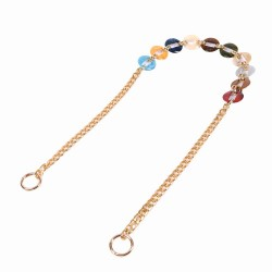 Replacement Chain Strap with Combined Colorful Acrylic and Metal Chain for Shoulder and Crossbody Bags
