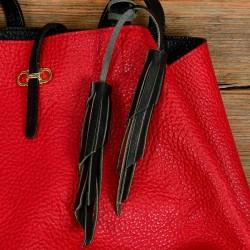 Twin Leather Tassels Handbag and Purse Charm in Black