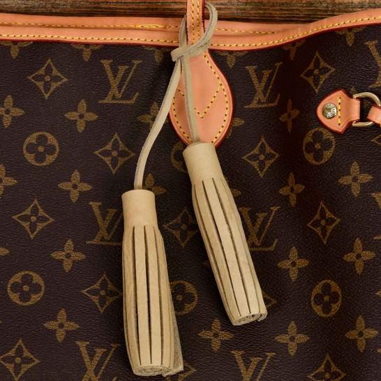 Twin Leather Tassels Handbag and Purse Charm in Beige