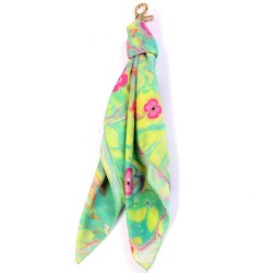 Blossoms on Seafoam Handmarbled Bag Scarf Key Fob
