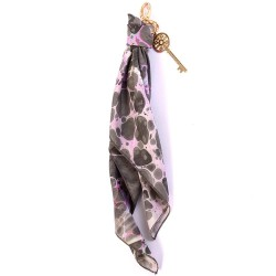 Gray Shades of Pink Handmarbled Bag Scarf Key Fob