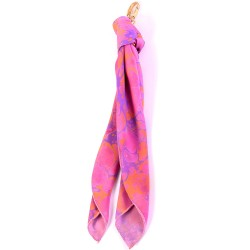 Lovely Fuchsia Handmarbled Bag Scarf Key Fob