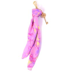 Shades of Pink Handmarbled Bag Scarf Key Fob