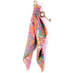 Swirling Orange Handmarbled Bag Scarf Key Fob