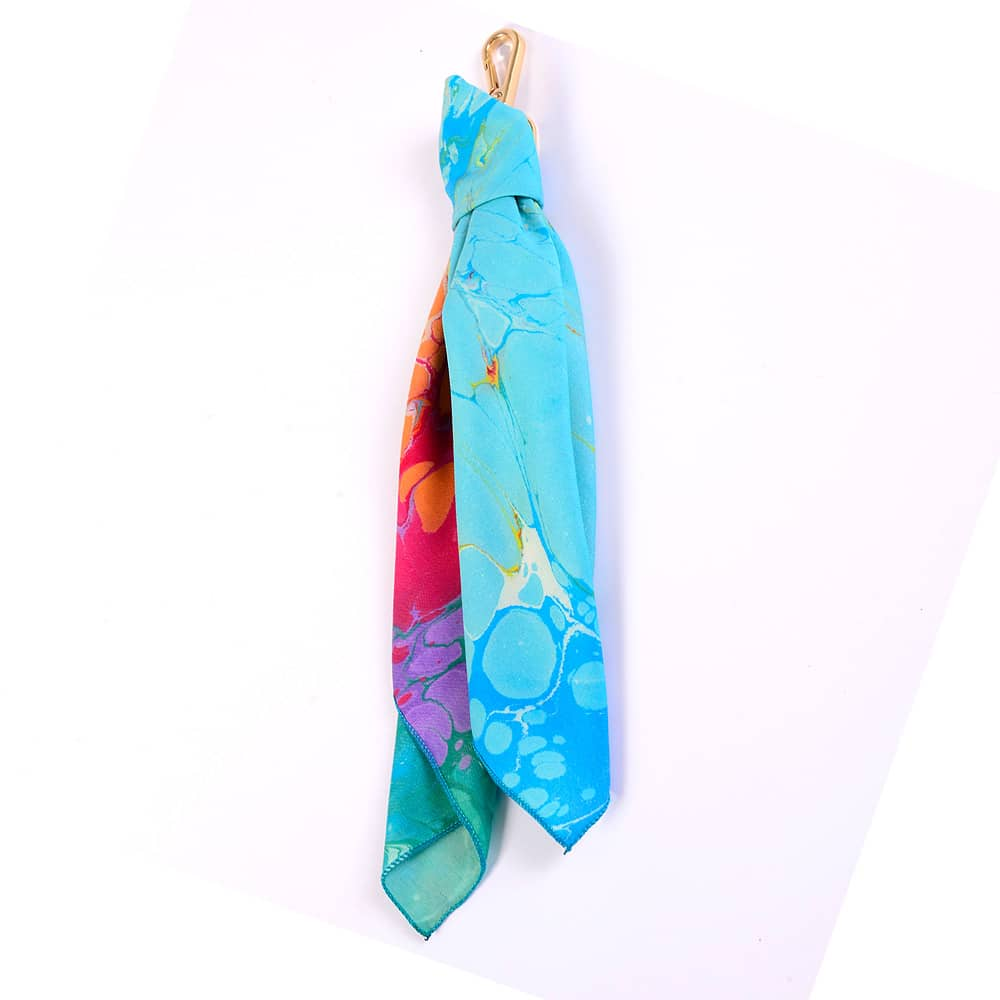 Swirling Turquoise Handmarbled Bag Scarf Key Fob