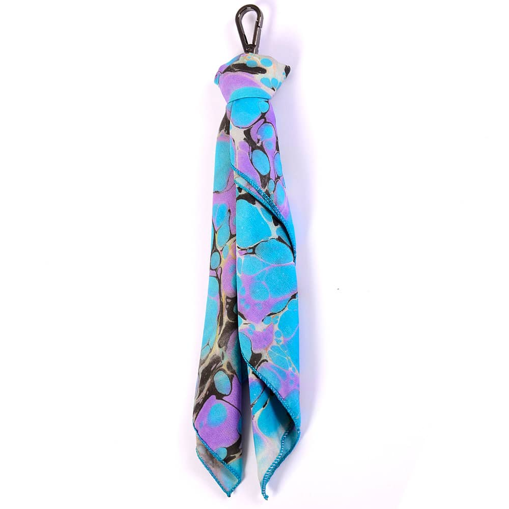 Turquoise and Lilac Handmarbled Bag Scarf Key Fob
