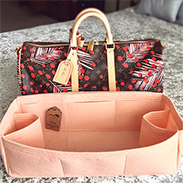 Regular style felt bag organizer in peach color for Keepall 45