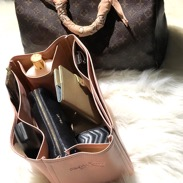 Deluxe leather bag organizer in brown