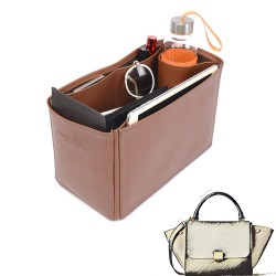 Celine Trapeze Large Vegan Leather Handbag Organizer in Brown Color