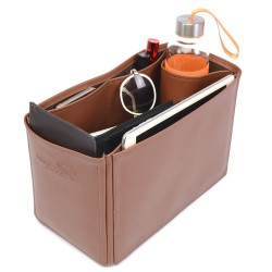 Deauville Tote Bag VeganLeather Handbag Organizer in Brown Color