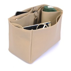 Cuy. Classic Leather Totes Deluxe Leather Bag Organizer in Dark Beige Color