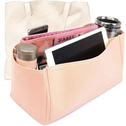 Cuy. Classic Leather Tote Deluxe Leather Bag Organizer in Blush Pink Color