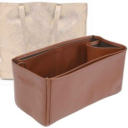 Cuy. Classic Leather Tote Deluxe Leather Bag Organizer in Brown Color