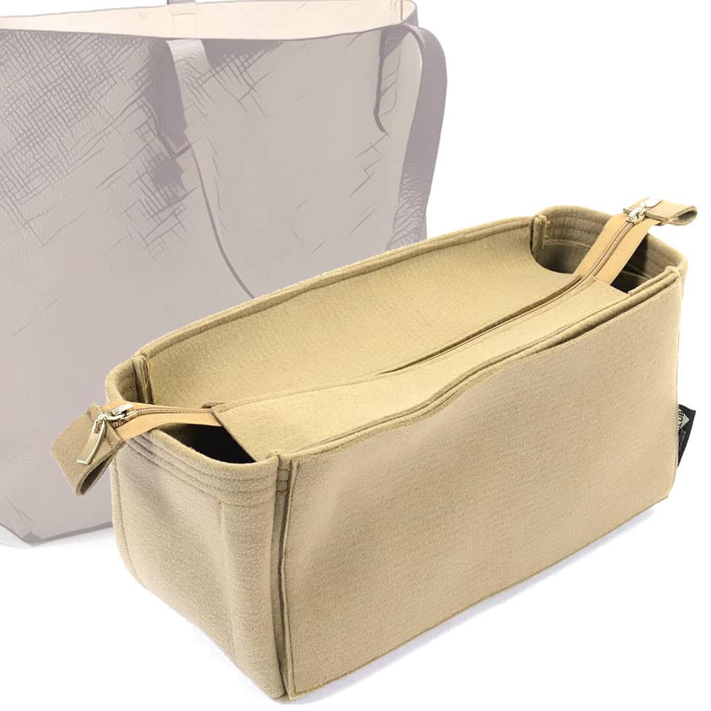 Bag and Purse Organizer with Zipper Top Style for Cuyana Classic Structured Leather Tote (More colors available)