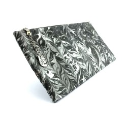 Hand-Marbled Pouch Clutch In Black and White Color Combination