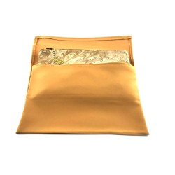 Hand-Marbled Pouch Clutch In Light Brown And Bone Color Combination