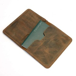 Genuine Leather Passport Cover & Luggage Tag Gift Set with Gift Message Card
