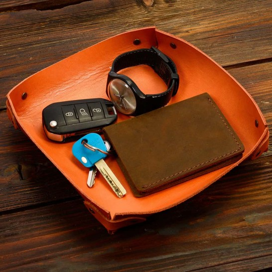 Personalized Genuine Leather Valet Tray in Orange