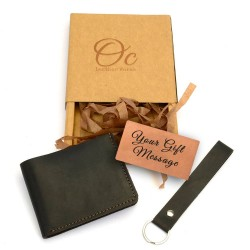 Leather Bi-fold Wallet and Keyfob with Leather Gift Message Card for Men in Black