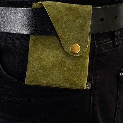 Wing Fold Genuine Suede Leather Wallet in Khaki Green