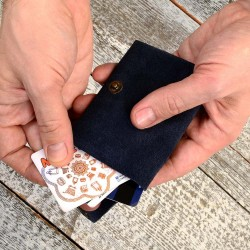 Wing Fold Genuine Suede Leather Wallet in Navy