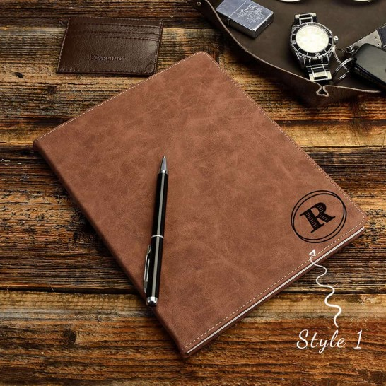 Personalized Leather Portfolio in Tan, Monogrammed Journal