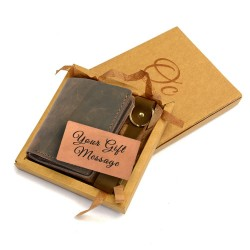 Leather Compact Wallet and Keyfob with Leather Gift Message Card for Men in Espresso