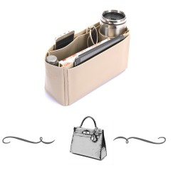Kelly 32 Vegan Leather Handbag Organizer in Dark Beige Color