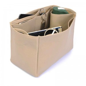 Garden Party 36 Vegan Leather Handbag Organizer in Dark Beige Color