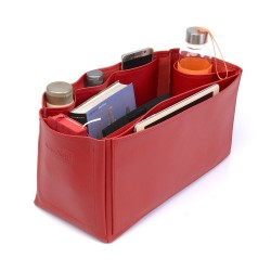 Birkin 40 VeganLeather Handbag Organizer in Cherry Red Color