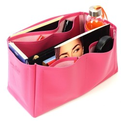 Birkin 40 Vegan Leather Handbag Organizer in Fuchsia Color