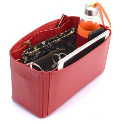 Dorset Medium Deluxe Leather Handbag Organizer in Cherry Red Color