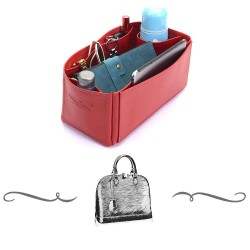 Alma PM Deluxe Leather Handbag Organizer in Red Color