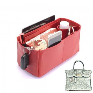 Birkin 30 Deluxe Leather Handbag Organizer in Cherry Red Color