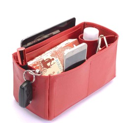 Graceful PM Deluxe Leather Handbag Organizer in Cherry Red Color