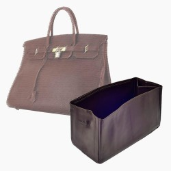 Birkin 40 Vegan Leather Handbag Organizer in Bitter Brown