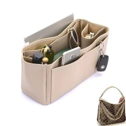 Delightful MM (2015 model) Deluxe Leather Handbag Organizer in Dark Beige Color