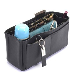 Delightful MM (2015 model) Deluxe Leather Handbag Organizer in Black Color
