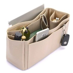 Kelly 35 Deluxe Leather Handbag Organizer in Dark Beige Color