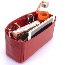 Victoria II 35 Deluxe Leather Handbag Organizer in Cherry Red Color
