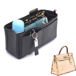Kelly 35 Deluxe Leather Handbag Organizer in Black Color