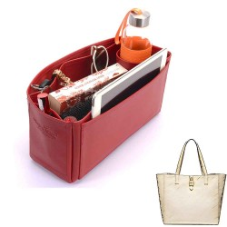 Tessie Tote Deluxe Leather Handbag Organizer in Cherry Red Color