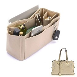 Victoria II 35 Deluxe Leather Handbag Organizer in Dark Beige Color