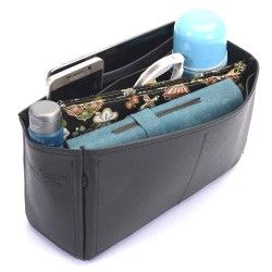 Herbag 31 Deluxe Leather Handbag Organizer in Black Color
